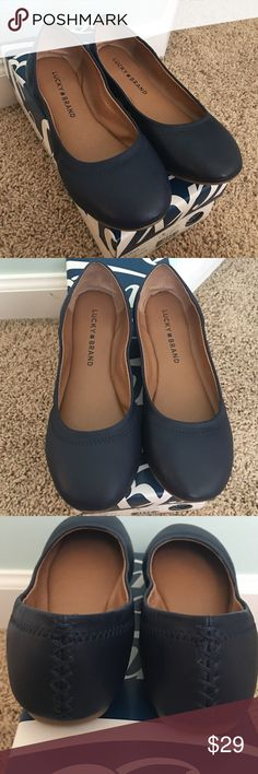 Lucky Brand Navy Emmie Flat EUC! Versatile and adorable, Emmie flat by Lucky Brand in navy. Barely worn and in almost new condition. Size 6 1/2. I have a slightly wide foot and found these to be too narrow for me. I'm super bummed because these are the perfect flats! Navy is much more neutral than you might expect and transitions easily between seasons. Fair offers considered. Lowball offers ignored. Will be shipped in a Lucky Brand shoe box that is taped up for ease of shipping. Lucky Brand…