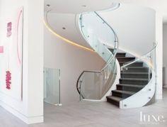 White Modern Spiral Staircase, #LED, #interior, #design
