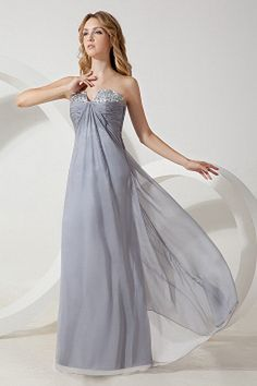 Strapless Chiffon Silver Prom Dress ted1470 - SILHOUETTE: A-Line; FABRIC: Chiffon; EMBELLISHMENTS: Beading , Crystal , Ruched; LENGTH: Floor Length - Price: 154.6300 - Link: http://www.theeveningdresses.com/strapless-chiffon-silver-prom-dress-ted1470.html