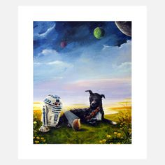 Bear  by John Meyers.  In John Meyers' whimsical animal print, Bear, doggie, droid and hedgehog lounge on the grass on a distant planet, while three other planets loom above. Printed to order, the Wary Meyers prints use archival inks on cotton paper, and John Meyers signs the prints in pencil.  $34fab    $45 retail price