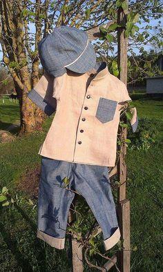 Boys suit linen toddler linen costume boys birthday by EcoEmi Cute Boy Outfits, Kids Outfits, Summer Outfits, First Birthday Outfits, Boy Birthday, Blue Colour Shirt, Boys Linen Suit, Denim Hat, Boys Suits