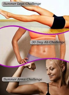3 of Skinny Ms. most popular fitness Challenges! Summer Arms Challenge, 7 Day Ab Challenge and Glute, Butt Bootie Challenge.