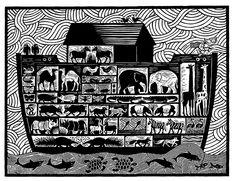 The Ark - Linocut by Hugh Ribbans