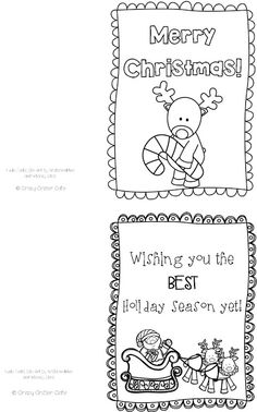 crazy critter cafe freebie color your own cards christmas