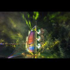 12/14 The Burj Al Arab lights for UAE 43rd National Day  PHOTO:  alk7aileh_almaktoum
