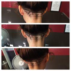 Women's long hair with back undercut design