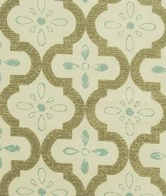 """Pindler & Pindler """"Purcell"""" fabric in Bluestone, $28.65/yd - cream with tan and aqua medallion/tile print"""