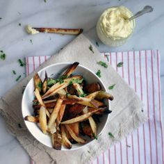 Baked Fries with Malt Vinegar Aioli | These crispy baked french fries are simple, yet they stand up beautifully to any main dish you pair them with.
