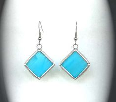 Turquoise Stained Glass Earrings by AfricanSand on Etsy, $17.00