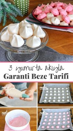 Video lecture 3 How to make Garanti Beze Recipe from Egg White (Full 120 pieces with video)? Here is a video description of this recipe in the book of 246 people and photographs of the people who try it. Soup Recipes, Dinner Recipes, Dessert Recipes, Cooking Recipes, Chocolate Pastry, Chocolate Desserts, Meringue Pavlova, Delicious Desserts, Yummy Food