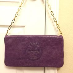 Tory burch convertible clutch Purple TB clutch, rarely used in great condition, gold chain. Tory Burch Bags Clutches & Wristlets