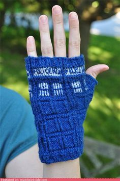 Doctor Who TARDIS gloves! used a different pattern, but they are great! You find Doctor Who fans everywhere when you wear them.