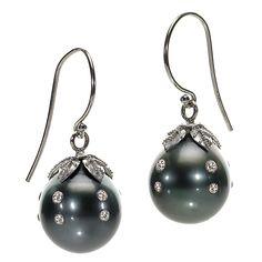 RUSSELL TRUSSO - Tahitian Pearl Diamond Drop Earrings  (1stdibs.com)