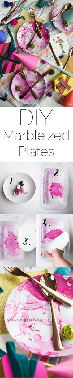 Make your own marbleized plates in under 2 minutes…