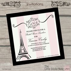 Paris Themed Bridal Shower Invitations by TheLittleStickyNote on Etsy Paris Bridal Shower, Bridal Shower Luncheon, Paris Baby Shower, Bridal Showers, Paris Party, Paris Theme, Wedding Shower Invitations, Birthday Invitations, Quince Invitations