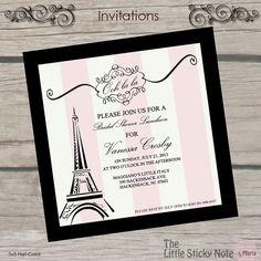 Paris Themed Bridal Shower Invitations on Etsy, $1.50