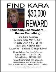 Kara Kopetsky, Missing Belton Missouri, http://www.missingpersonsofamerica.com/2011/09/boyfriend-of-missing-girl-gets.html