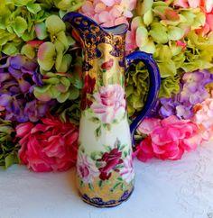 Gorgeous Nippon Porcelain Hand Painted Pitcher ~ Roses ~ Cobalt ~ Gold Gild
