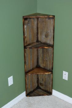 barn wood shelves | Reclaimed Rustics: Barn Wood Corner Shelf. I would want to make this so that I could put movies or video games on it.