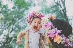 baby flower crown happy smile