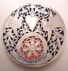 Ultra Rare Antique Palestinian Islamic Silver Mother of Pearl and Enamel Compact
