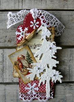 inkido: Christmas PIne tree, Santa, snowflakes Tag