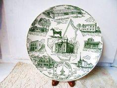 1966 Moniteau County Missouri Souvenir Commemorative Plate - Creamy Ivory & Green   via Orphaned Treasures Etsy