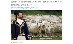 What am I suppose to do wth all these SHEEPS??? #Hamilton funny musical Lafayette guns and ships