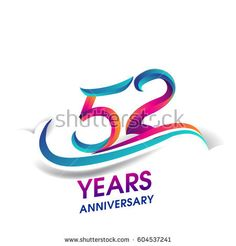 fifty two years anniversary celebration logotype blue and red colored. 52nd birthday logo on white background.