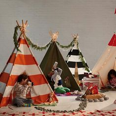 Set up a playroom teepee for your little one.