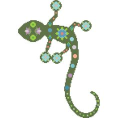 Pretty Boho lizard. Modern cross stitch pattern. Contemporary folk... ❤ liked on Polyvore featuring home and home decor
