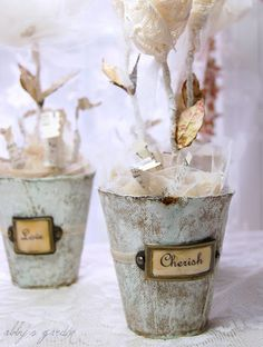 "Charmingly lovely whitewashed peat pots with tulle ""moss"". #crafts #plants #planters #pots #shabby #chic #decor"