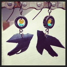 Recycled Bicycle bike Tube Bird Earrings with by maybirdjewelry, $18.00