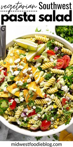 This quick and easy vegetarian Southwest pasta salad is loaded with black beans, corn, tomatoes, and red onion tossed in a creamy avocado lime dressing. Unique Pasta Salad, Best Pasta Salad, Mexican Food Recipes, Vegetarian Recipes, Cooking Recipes, Avocado Lime Dressing, Salad Dressing, Picnic Foods, Picnic Recipes
