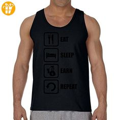 Eat Sleep Earn Repeat Funny Black Money Bag Graphic Men's Tank Top T-Shirt XX-Large (*Partner-Link)