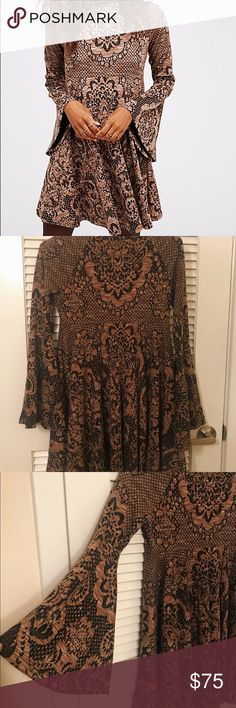 Free People Lorelei Mini Dress Black and Tan lace print swing dress with mock turtle neck and retro bell sleeves. Stretchy, comfy polyester/viscose fabric. Worn once! Free People Dresses Mini