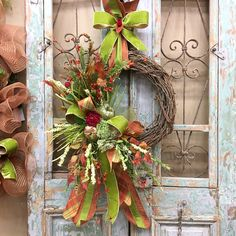 Etsy :: Your place to buy and sell all things handmade Thanksgiving Wreaths, Fall Wreaths, Christmas Wreaths, Door Wreaths, Deco Mesh Pumpkin, Pumpkin Wreath, Halloween Door Decorations, Fall Decorations, Fall Swags