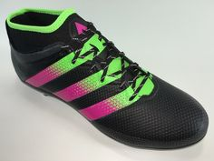 SR4U Black Reflective Soccer Laces on adidas Ace 16.2 Primemesh
