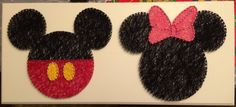 Mickey and Minnie String Art by SosaStrings on Etsy  use that weirdly shaped longish frame. red polka dot fabric background with felt mickey and minnie cutouts and bows and pants.