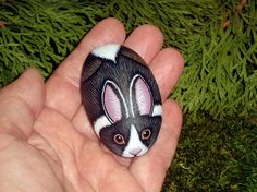 DUTCH RABBIT, miniature animal, International Rabbit Day 9-26, hand painted rock, by Rockartiste on Etsy