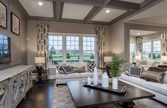 Transitional Living Room with Open Box Outdoor Throw Pillow, Custom Estate Metal Ball Finials, Crown molding, Bamboo Branch