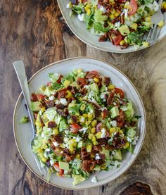 BLT chopped salad with corn, feta and avocado + 4 other delicious recipes in this free weekly meal plan | Rainbow Delicious