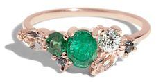 Custom Heirloom Emerald and Morganite Cluster Ring