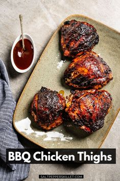 BBQ Chicken Thighs | Easy, sweet, sticky caramelized outside, juicy and tender on the inside and so freakin' delicious. This is how BBQ chicken should taste. #bbqchicken #chickenthighs
