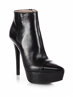 Prada Leather Platform Ankle Boots