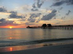 Naples Pier at Sunset from the Naples Beach. Naples Pier, Naples Beach, Naples Florida, Naples Sunset, South Florida, Beautiful Places To Visit, Great Places, Places To See, Amazing Places