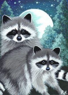 ACEO Print Raccoon Moon Stars Trees   eBay