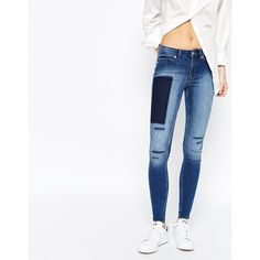 Cheap Monday Mid Spray Skinny Jeans With Distressing And Patchwork... ($54) ❤ liked on Polyvore featuring jeans, pants, blue, super skinny jeans, white distressed jeans, distressed jeans, white ripped skinny jeans and blue jeans
