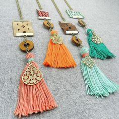 Boho Tassel Necklace  Long Tassel Necklace  by osofreejewellery