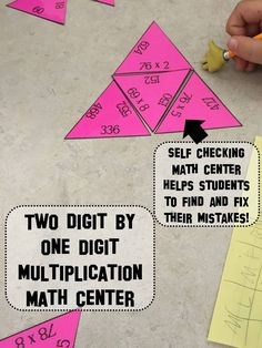 Free: Two digit by one digit multiplication math center activity. Check out my other self checking math activities!